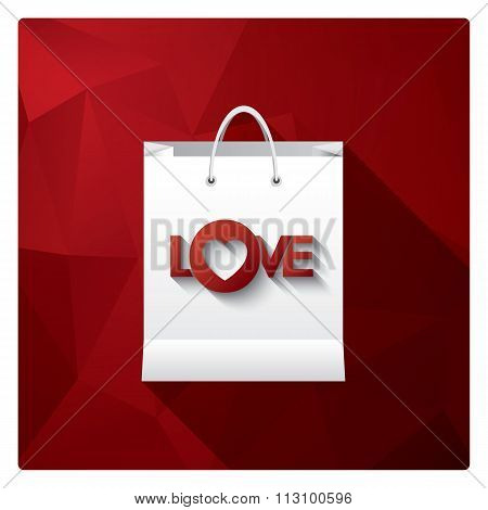 Valentine's day sale with shopping bag as a symbol for discounts on red low poly background.