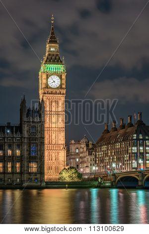 Elizabeth tower (Big Ben) In London At Night