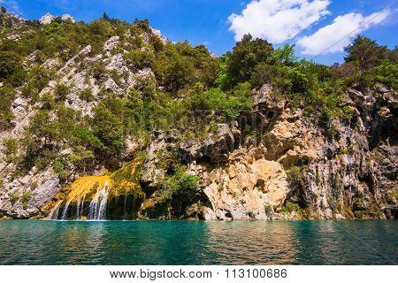 National park Merkantur, Provence, France. Stony slopes of canyon go down in azure rivers Verdon
