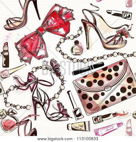 Beauty And Fashion Vector Watercolor Cosmetics Make Up Artists Objects Lipstick, Nail, Perfumes