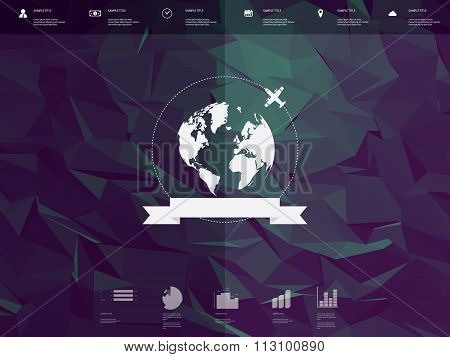Low poly infographics template user interface with globe badge and ribbon element. Low-poly backgrou