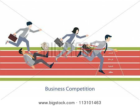 Business People Running On Red Rubber Track.