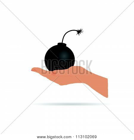Bomb In Hand Vector In Colorful