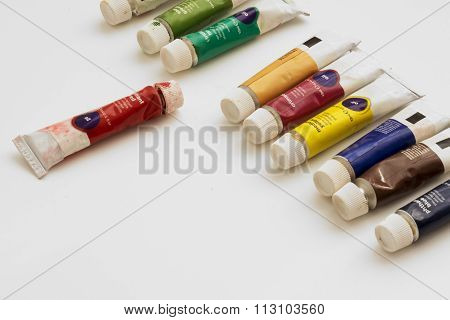 Oil Paint Tubes  On Gray Background