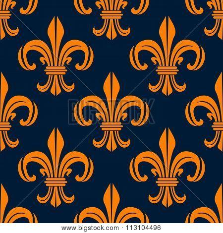 Seamless pattern with fleur-de-lis floral scrolls