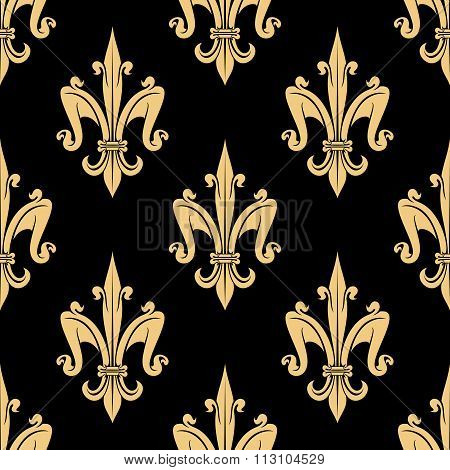 Golden fleur-de-lis seamless pattern over black