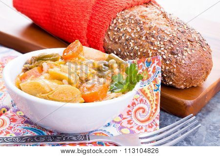 Bowl Of Turkish Leek Soup With Bread
