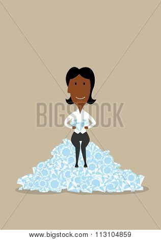 Wealthy businesswoman sitting on diamonds