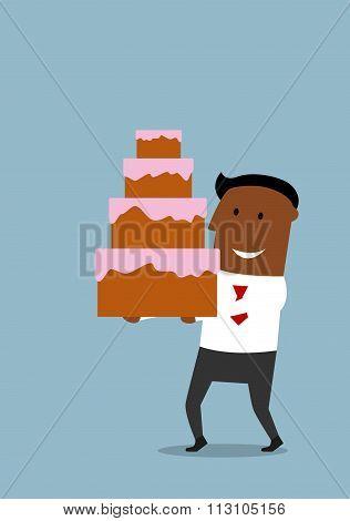 Joyful cartoon businessman with cream cake