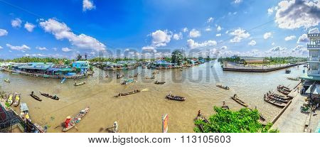 Morning Floating Market Mekong River region