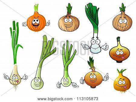 Green, leek and bulb onion vegetables