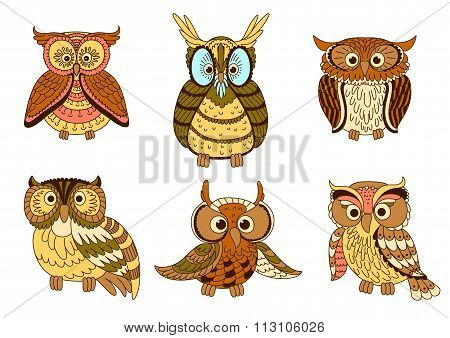 Cartoon funny owlets and eagle owl birds