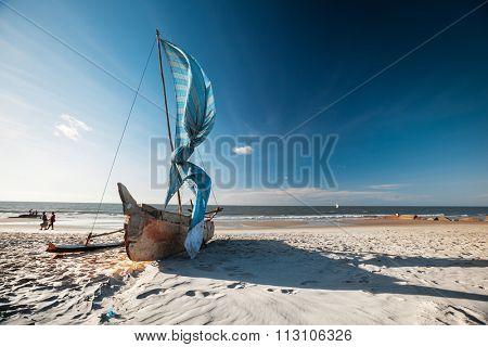Traditional Malagasy sail boat on the sea coast. Town of Morondava, Madagascar