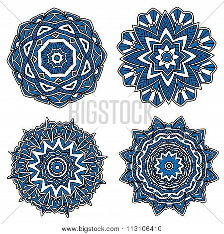 Circular patterns with blue openwork ornament