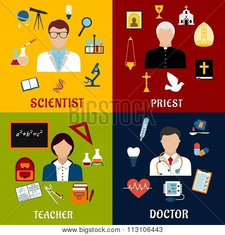 Scientist, teacher, doctor and priest professions