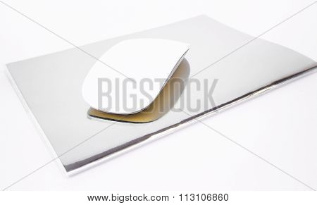 Wireless Mouse Top Note Book Isolated On White Background