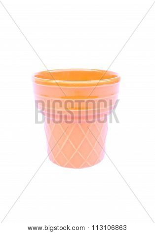 Orange Plant Pot Isolated On White Background