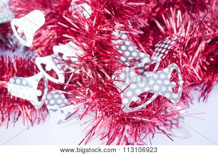 Red Holiday Decoration Ribbon On White Background