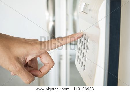 Fingerprint And Password Lock In A Office Building