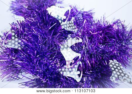 Purple Holiday Decoration Ribbon On White Background