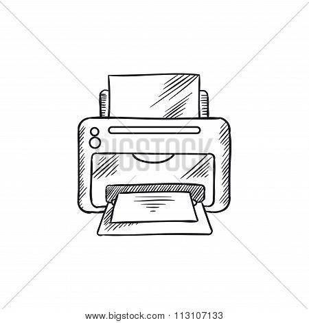 Sketch icon of office inkjet printer with paper