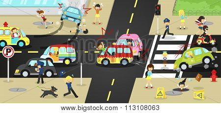 Accidents, Injuries, Danger And Safety Caution On Traffic Road Vehicles Cause By Cars Bicycle And Ca