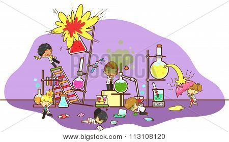 Accident And Destruction While Kid Scientists Working And Experimenting In Science Chemistry
