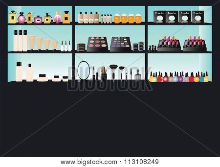 Glamour Cosmetics Make Up On Shelf.