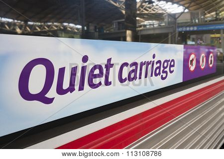 Quiet carriage sign on a train