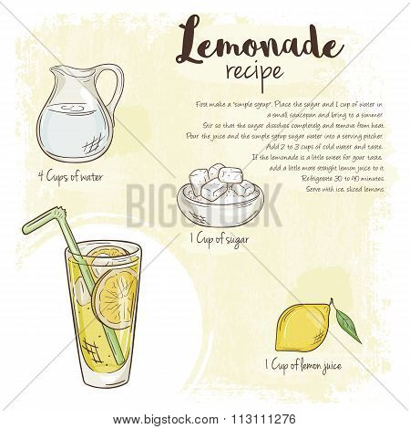 Vector Hand Drawn Illustration Of Lemonade Recipe With List Of Ingredients