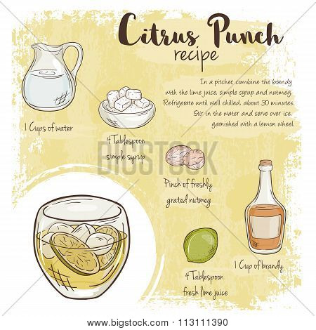 Vector Hand Drawn Illustration Of Citrus Punch Recipe With List Of Ingredients