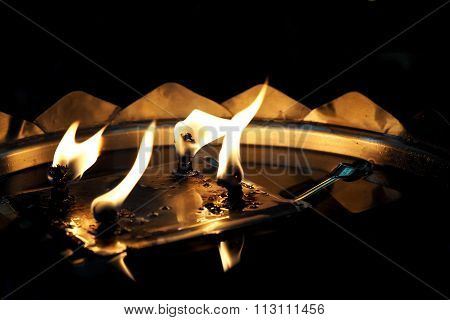 Flickering oil lamp flame