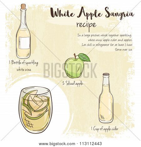 Vector Hand Drawn Illustration Of White Apple Sangria Recipe With List Of Ingredients