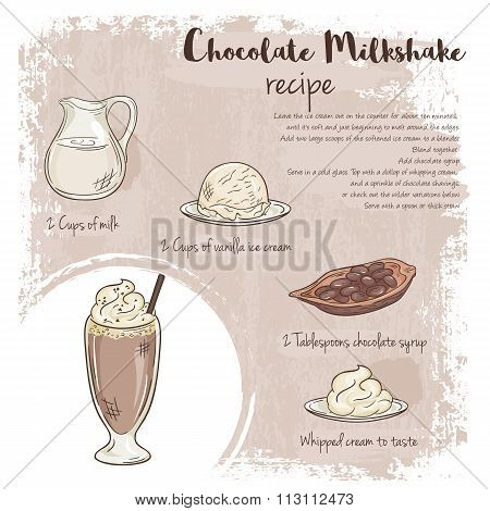 Vector Hand Drawn Illustration Of Chocolate Milkshake Recipe With List Of Ingredients