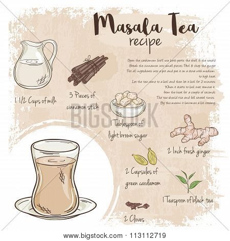 Vector Hand Drawn Illustration Of Masala Tea Recipe With List Of Ingredients