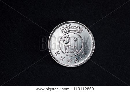 Fifty cent Kuwaiti Dinar silver coin.