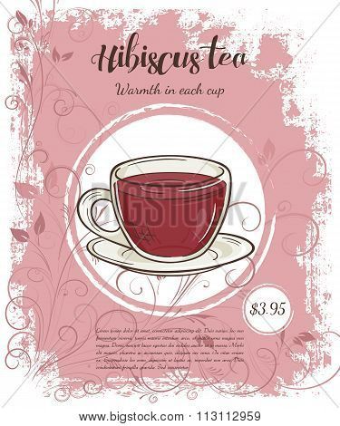 Vector Hand Drawn Illustration Of Drinks Menu Pages With Cup Of Hibiscus Tea