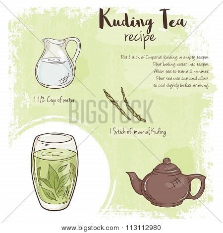 Vector Hand Drawn Illustration Of Kuding Tea Recipe With List Of Ingredients