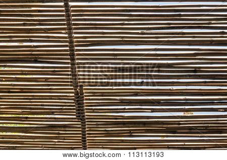 Silhouette Blurry Art Tone Of Ceiling Made From Bamboo At Bathroom Under Sunlight In The Midday Text