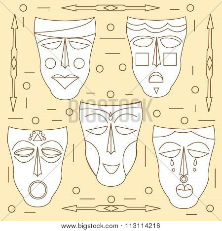 African Masks. Vector Set