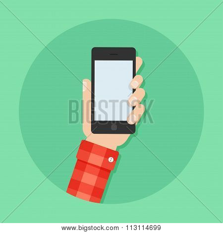 Hand With Phone Vector Illustration Of Flat