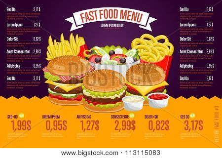 Fast food menu template.