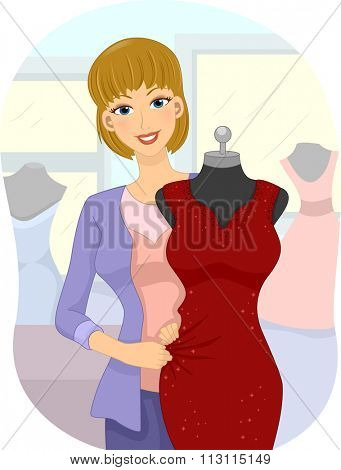 Illustration of a Fashion Designer Draping a Mannequin with a Gown