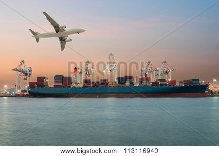 Container Ship In Import,export Port Morning Light Of Loading Ship Yard Use For Freight And Cargo Sh