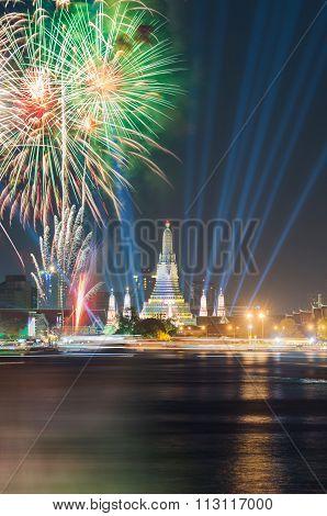 Wat arun under new year celebration time Thailand