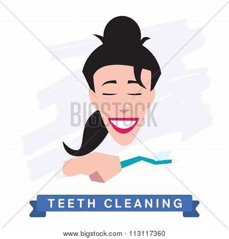 Woman cleaning teeth. Beautiful white teeth smile.