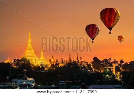 Colorful Hot-air Balloons Flying Over Of Shwedagon Pagoda At Yangon, Myanmar