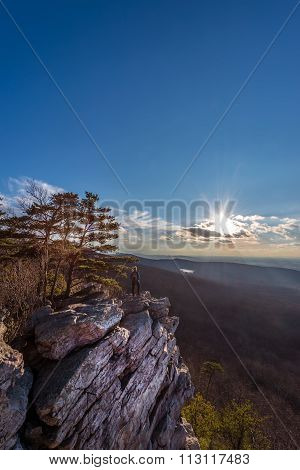 Female Hiker Enjoying A Beautiful Appalachian Mountain Vista