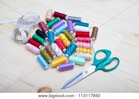 Spools Of Thread, Scissors And Centimeter
