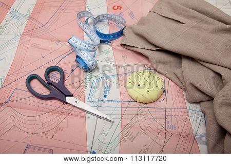 Scissors, Spools Of Thread, Pins, Centimeter